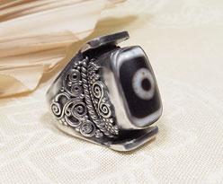 DZI Achat RING - 925er Sterling Silber - Tibetischer Glücksstein - NEPAL