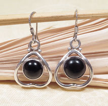 Ohrringe schwarzer Onyx - 925er Sterling Silber - Nepal