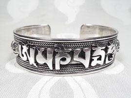 BIG – Armreifen Tibet Mantra Om Mani Padme Hum – 925 Sterling Silber - 53 Gr. - Nepal