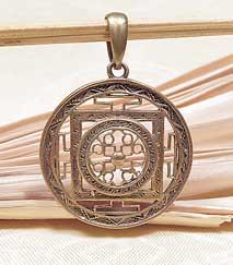 Anhänger Mandala - 5 Metalle Amulett - Handarbeit aus Nepal