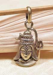 Anhänger Lord Shiva mit Dreizack - 5 Metalle Amulett - Handarbeit Nepal