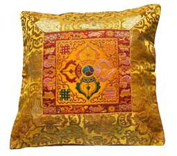 Tibetische Brokat Kissenhülle - Lotus - Dorje Vajra - Nepal - gelb