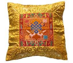 Tibetische Brokat Kissenhülle - Lotus - Endloser Knoten - Nepal - gelb