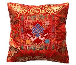 Tibetische Brokat Kissenhülle - Lotus - Endloser Knoten - Nepal - rot