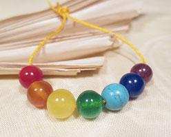 Sieben Chakra Perlen Set - 7 Farben - 8mm - Edelstein - Chakren Yoga - DIY - Nepal