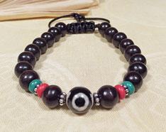 Tibet Armband - DZI Perle - Türkis Koralle Rosenholz - Sherpa Style