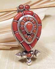 Tibet MEDAILLON - Box Anhänger - 925er Sterling Silber - Koralle - Karma Arts - NEPAL