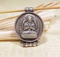 Tibetisches Amulett - Buddha Avalokiteshvara - Chenrezig - 925er Silber - Karma Arts - NEPAL
