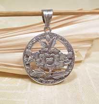 Anhänger Lotus Blume - 925er Silber - Tibet. Glückssymbol