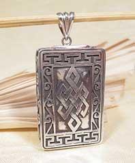 Tibet Anhänger Endloser Knoten - 925er Sterling Silber - Amulett Box Ghau - Nepal