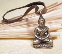 Altes Tibetisches Buddha Amulett mit Yaklederband - Nepal