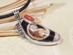 Anhänger DZI Achat Yin Yang - 925er Silber - Tibet Koralle - Nepal