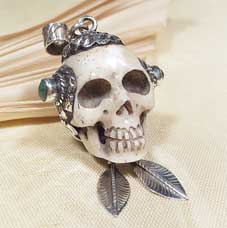 Anhänger Totenkopf - Skull aus Yakbone - Sterling Silber - Türkis - Lotus - Nepal