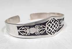 Armreifen - Glückssymbol Endloser Knoten - 925er Silber - Dorje Vajra - Nepal