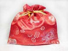 Beutel aus Brokat – Geschenkverpackung – Schmucktasche – rot - Nepal