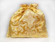 Beutel aus Brokat – Geschenkverpackung – Schmucktasche – gelb - Nepal