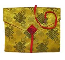 Tibetische Buchhülle - Endloser Knoten - Stoff Tasche - gelb
