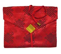 Tibetische Buchhülle - Endloser Knoten - Stoff Tasche - rot
