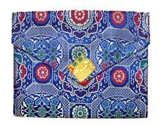 Buch Hülle Tasche - XL - Brokat - Bookcover - Stofftasche - Nepal Tibet