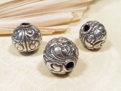 Tibetische Lotus Perlen - 3 Stück - Lotos Motiv - NEPAL