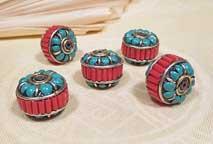 Tibetische Perle - Sonam - Türkis und Koralle - Nepal
