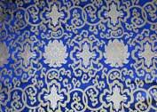Tibetischer Brokat Stoff - Lotus - blau - Nepal