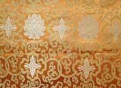 Tibetischer Brokat Stoff - Lotus - orange - Nepal