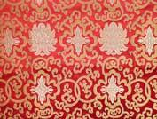 Tibetischer Brokat Stoff - Lotus - rot - 80cm - Nepal