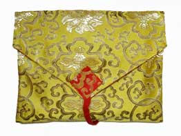Traditionelle Tibet BUCH HÜLLE - Schutzhülle - Lotus BROKAT - gelb