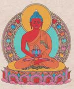 Grußkarte mit Umschlag - Amitabha Buddha - Handgeschöpftes Lokta Papier - Nepal