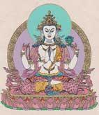 Grußkarte mit Umschlag - Avalokitesvara - Handgeschöpftes Lokta Papier - Nepal