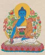 Grußkarte mit Umschlag - Medizin Buddha - Handgeschöpftes Lokta Papier - Nepal