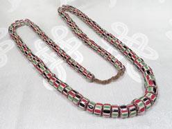 Halskette alte Chevron Perlen - Ethnoschmuck - 125 Trade beads - Nepal