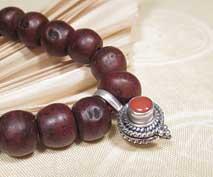 Mala Clip Koralle - Schmuck für die Gebetskette - 925er Sterling Silber - Nepal