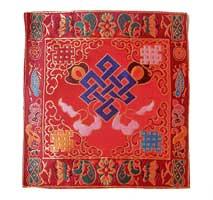 Altar Decke aus BROKAT - Endloser Knoten - rot - NEPAL