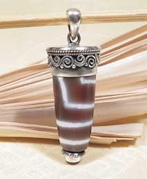 Anhänger - DZI Amulett  - Achat - 925er Sterling Silber - Koralle - NEPAL