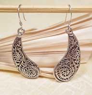 Ohrringe - filigran - 925er Sterling Silber - Leaf - Nepal