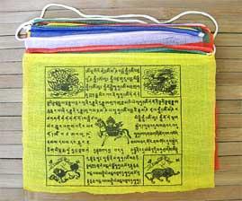 25 Tibetische Gebetsfahnen - Größe L - 6,5 Meter - Baumwolle - NEPAL