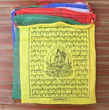 25 Tibetische Gebetsfahnen - 6 Meter - Grüne TARA - Dolma - Baumwolle - NEPAL