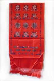 Kata / Katak Tibetischer Glücksschal - 8 Glückssymbole - rot - Nepal