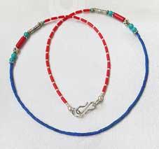 Halskette - filigran - Koralle Türkis Lapislazuli - Nepal