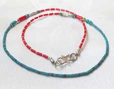 Halskette - filigran - Koralle und Türkis - Nepal