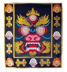 Mahakala - der Beschützer - Altardecke - Wandbehang aus Brokat - Nepal