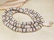 Gebetskette - Mala - verzierte Bone Perlen -TIBET Nepal