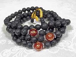 Gebetskette - schwarze Lava Perlen und Achat Mantra Perlen - Nepal