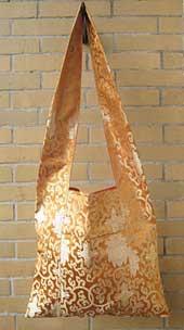 Tibetische Schulter-Tasche aus Lotus Brokat - Umhängetasche - orange