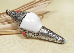 Tibetisches Muschelhorn - Glückssymbol Anhänger Silber - Shankha - NEPAL