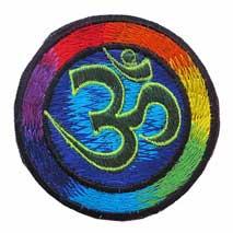 Gestickter Aufnäher - Patch - OM AUM Symbol - Regenbogen - Nepal