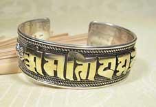BIG - Silber Armreifen - Tibet Mantra - 24 Karat vergoldet - Nepal