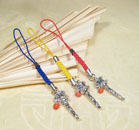 Tibet Anhänger - Gebetsmühle - für Handy oder Schlüsselbund - gelb